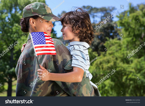 A military service member is reunited with her child in this photo. Her counselor must be prepared to handle the underlying issues related to her deployment to keep the family healthy as she reintegrates into the general population.